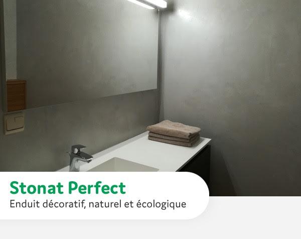 Salle de bain 1 avec Stonat Perfect enduits decoratif naturel et ecologique Ecobati
